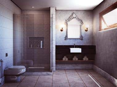 INTERIOR RENDER OF A BATHROOM