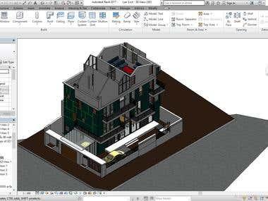 House modeling using Autodesk Revit.