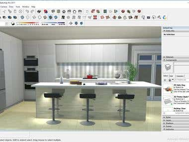 House Kitchen design Using Sketchup