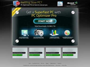 Landing page for PC Optimizer
