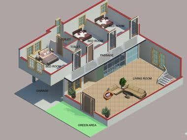 Isometric 3-D Interior Designing