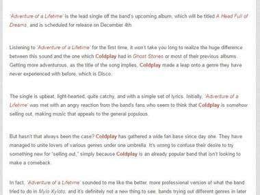 """Coldplay - Adventure of a Lifetime"" Rock Era Magazine"