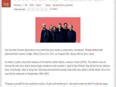 """Poets of The Fall - Drama for Life"" Rock Era Magazine"