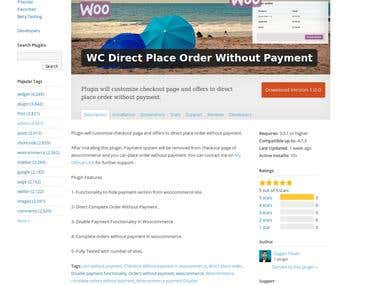 WC Direct Place Order Without Payment ( Wordpress.org )
