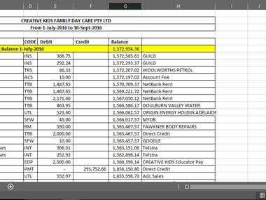 Creative Kids Bank Balance Sheet Converted from PDF to Excel