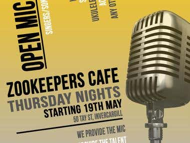 Flyer Design for an Open Mic Cafe