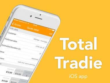 Total Tradie - iOS app and Web-admin tool