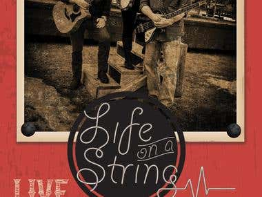 gig poster/admats for Americana band, Life on a String