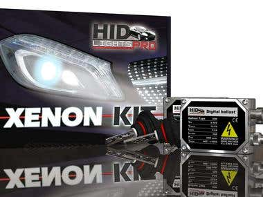 Box and Sticker Design for a HID lights product