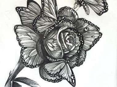 Butterflyflower tattoo