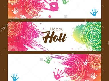Happy Holi abstrac colorful background with text card, banne