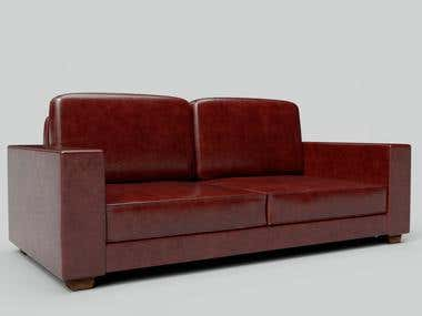 Red Polished Leather Couch