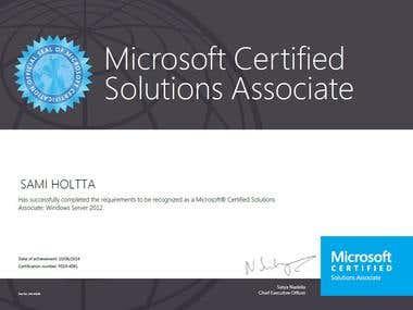 Windows 2012 Certificate, MCSA