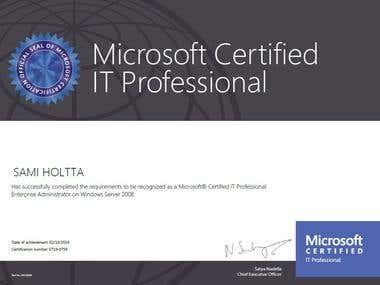 Windows 2008 Certificate, MCITP