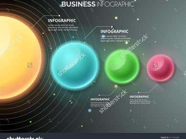 Modern infographics multi color circle with gradient backgro