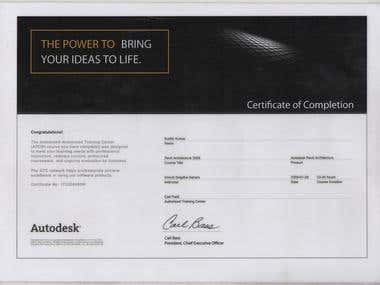 Autodesk Auto-Cad Certificate of Completion