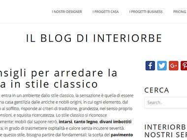 Blog per piattaforma di interior design