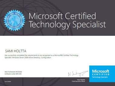 Windows 2008 Certificate, MCTS, Active Directory