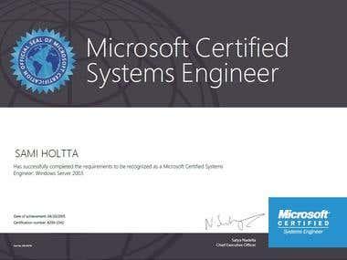 Windows 2003 Certificate, MCSE
