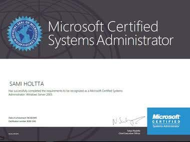 Windows 2003 Certificate, MCSA
