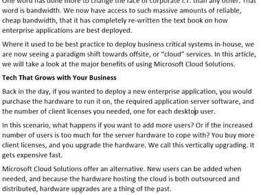 Business Technology - Microsoft Cloud