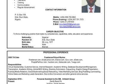 Comprehensive CV/Resume