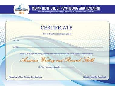 Certificate for vocational course.