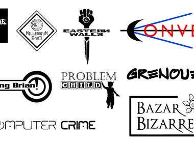 Multiple unsigned band logos created as part of a promotion.