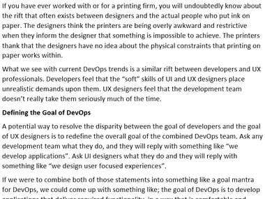 Business Technology - UX Design in the DevOps World