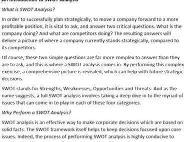 Business Article - An Introduction to SWOT Analysis