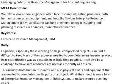 Business Article - Leveraging Enterprise Resource Management
