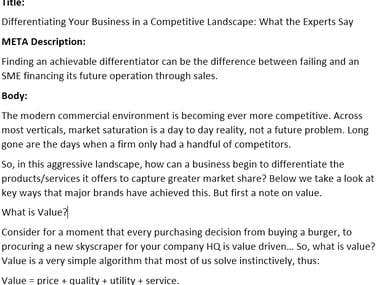 Business Article - Differentiating Your Business