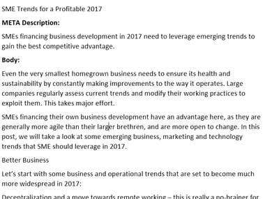 Business Article - SME Trends for a Profitable 2017