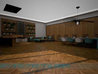 3D design for the office interior in Sketch Up
