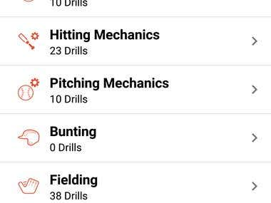 SoftBall Blueprint Android Sporting mobile App for trainers