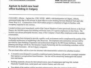 NEWS RELEASE - Agrium to build new headquarters