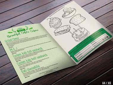 Kid's menu with coloring and cut off coupon