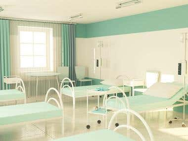 3D Hospital Room with a beds