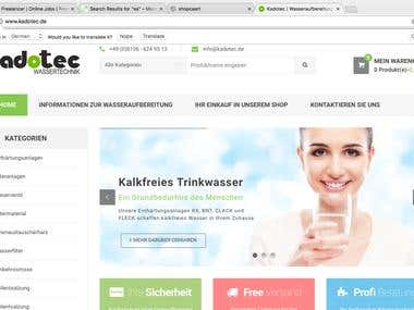 Ecommerce website for multiple products in German