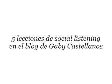 5 lecciones de social listening en el blog de Gaby Castellan
