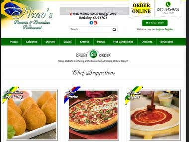 Ninos Brazilian Pizzas Ordering WebSite
