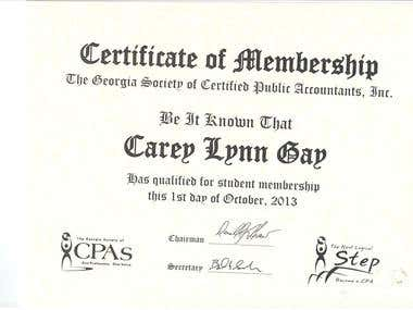 Certificate from The GA Society of CPAs