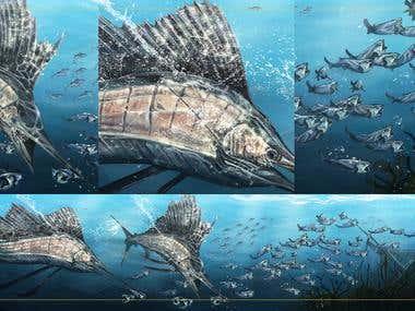 Digital Painting - Fish Boat Print