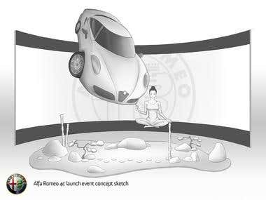 CONCEPT ILLUSTRATIONS for FIAT and ALFA ROMEO