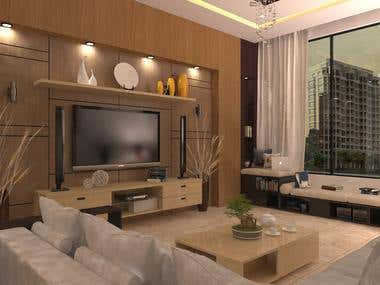 Interior render for complete apartment in Kuwait