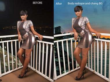 Photo extract retouch and change background.