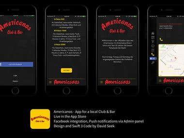 Americanos - App for a local Club & Bar