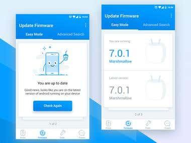 Mobile firmware update UI