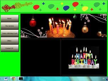 Homepage of birthday crashers