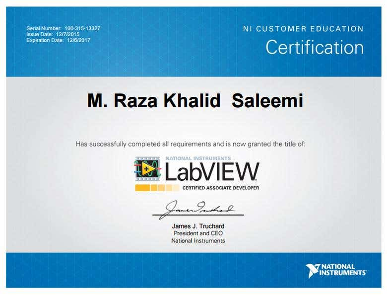 Certified Labview Associate Developer Clad Freelancer